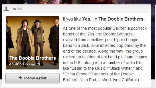 """Spotify, Yes, DoobieBros"""